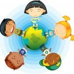 Childrens Standing Round the Globe — Stock Vector