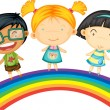Childrens Standing on Rainbow — Stock Vector