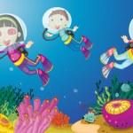 Kids Underwater — Stock Vector #9960569
