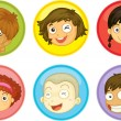 Stock Vector: Kids faces