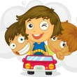 Three naughty kids - Stock Vector