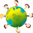 Kids on the globe - Stock Vector