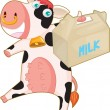 Cow and milk bag - Stok Vektör