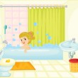 Girl in bath tub — Stock Vector #9960995