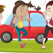 Boy and Girls Next to Car - Stock Vector