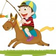 A Boy Riding a Horse — Stock Vector