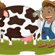 Stock Vector: A Boy Painting on a Cow