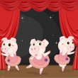 Stock Vector: Three Dancing Pigs
