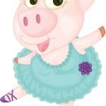 Dancing Pig — Stock Vector