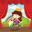 A Girl with Crown — Stock Vector