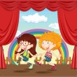 A Dancing Boy and Girl - Stock Vector
