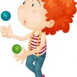 A boy playing with balls — Stock Vector