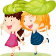 Two Girls — Stock Vector
