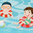 Boy and Girl in Swimming Pool - Stock Vector