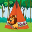 Lion and tent — Stock Vector