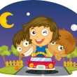Stock Vector: Kids driving