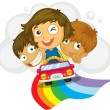 Stock Vector: Kids in car