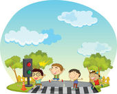 Children crossing street — Stock Vector