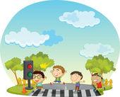 Children crossing street — Stock Vector