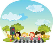 Children crossing the street — Stock Vector