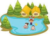 Kids swimming — Stock Vector