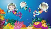 Kids Underwater — Stock Vector