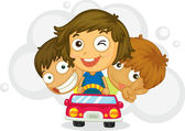 Three naughty kids — Stock Vector