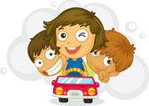Three naughty kids — Stock Vector