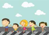 çocuklar yol geçiş — Stok Vektör