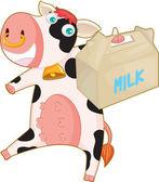 Bolso de vaca y leche — Vector de stock
