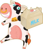 Cow and milk bag — Vector de stock