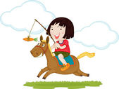 A Girl Riding a Horse — Stock Vector