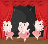 Three Dancing Pigs — Stock Vector
