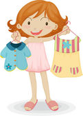 A Girl showing Clothes — Stock Vector