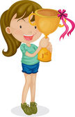 A Girl With a Trophy — Stock Vector
