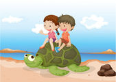 Girl and Boy Sitting on Tortoise — Stock Vector