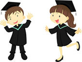 A Educated Boy and Girl — Stock Vector