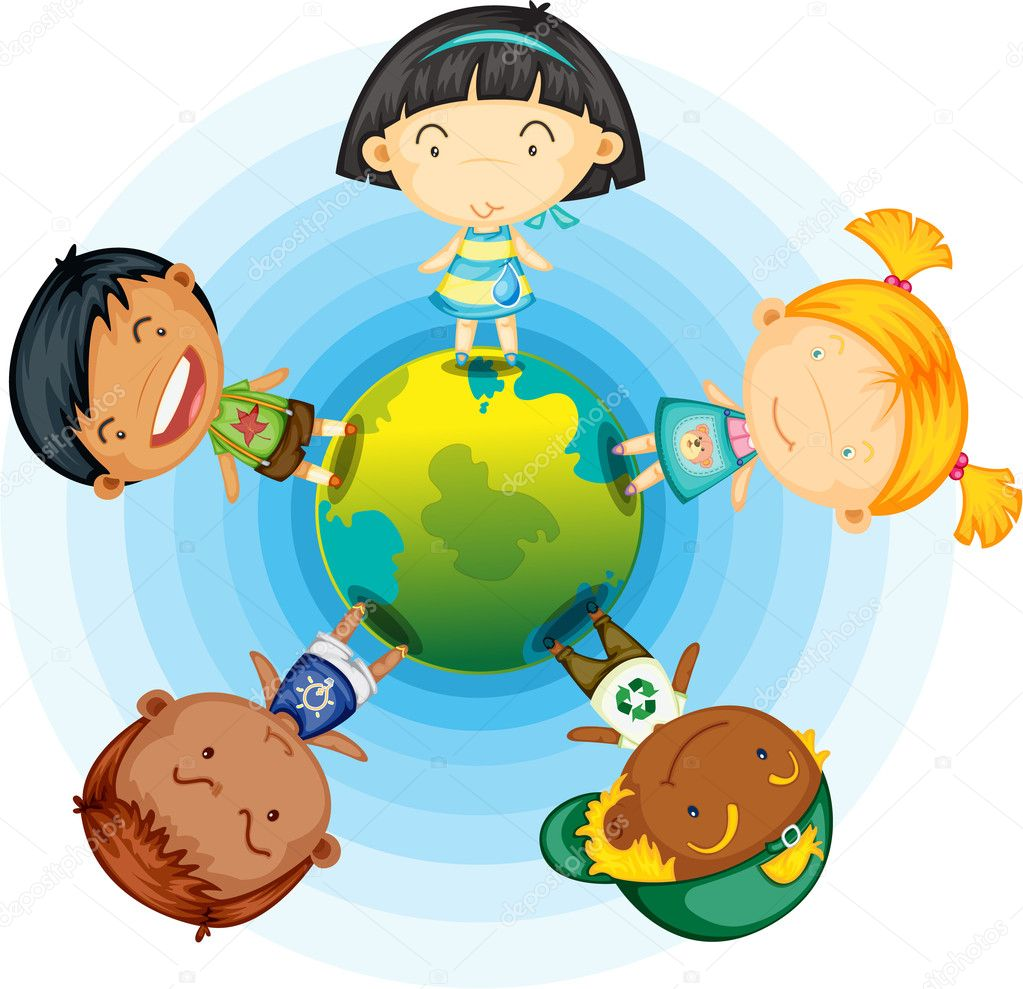 Illustration of childrens standing round the globe on white background — Stock Vector #9960450