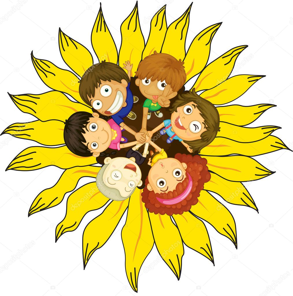 Firendship circle with young children  Stock Vector #9960558