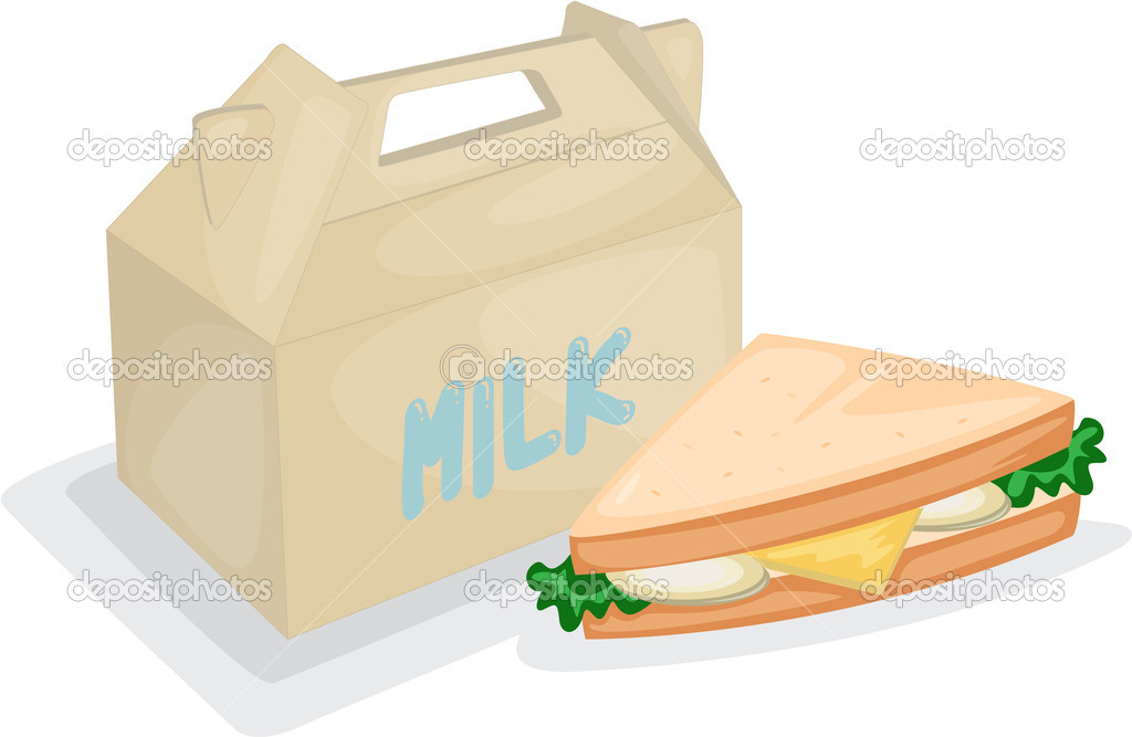Illustration of a sandwich and milk bag on a white background — Stock Vector #9960838