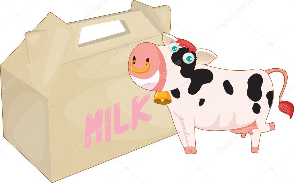 Illustration of a cow and milk bag on a white background — Stock vektor #9960840