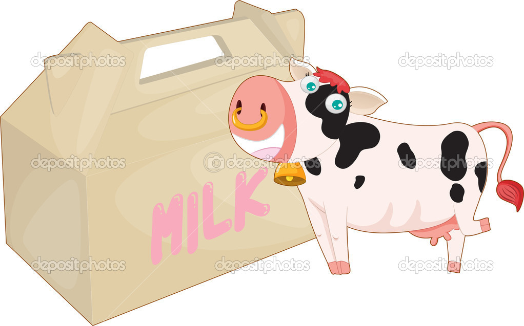 Illustration of a cow and milk bag on a white background — Image vectorielle #9960840