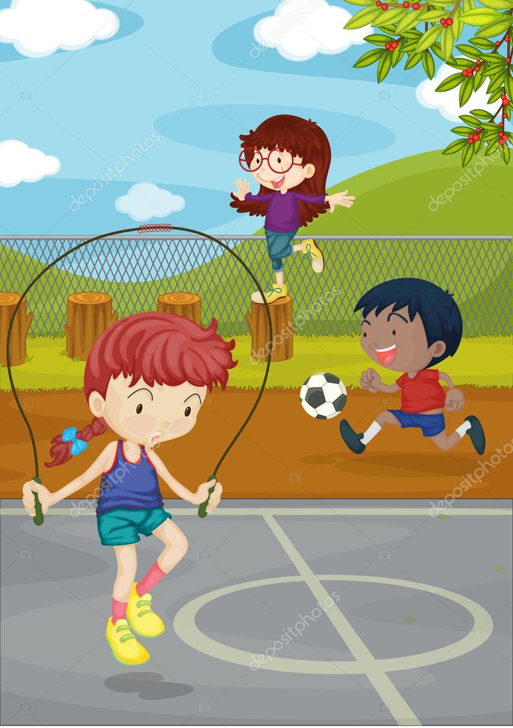 Illustration of kids playing on a ground — Stock Vector #9961438