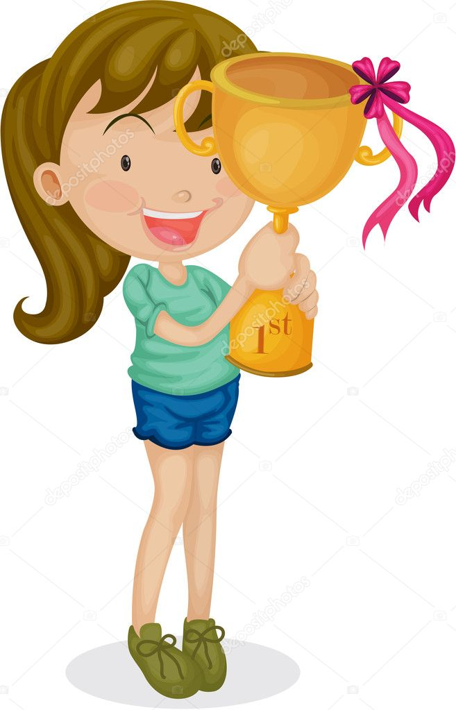 Girl With a Trophy — Stock Vector © interactimages 9961444
