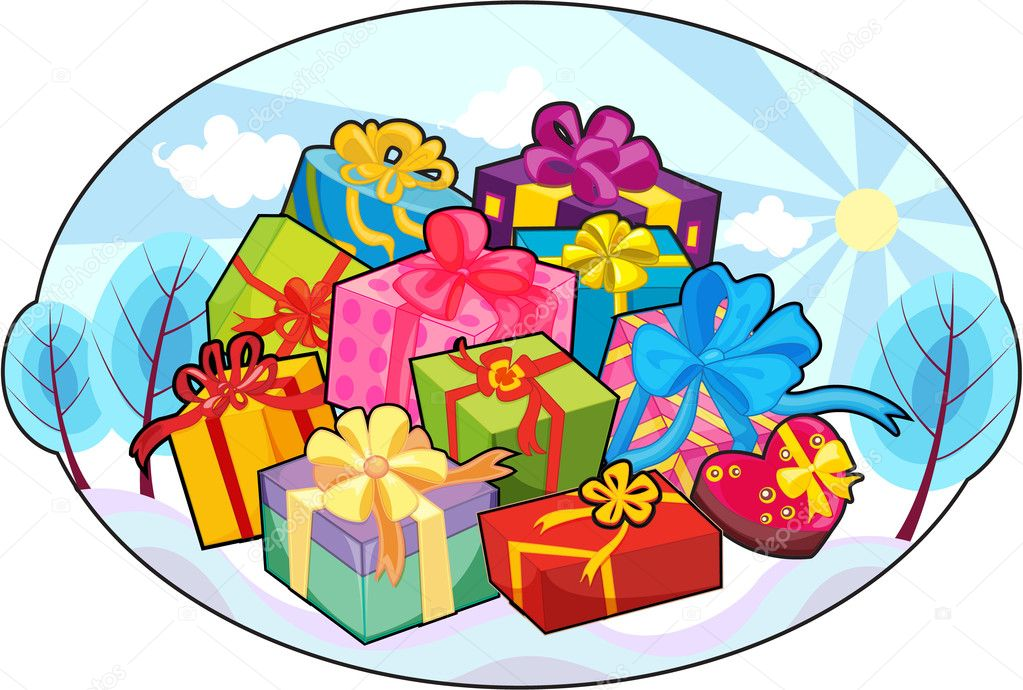 Illustration of a gift box on a white background — Stock Vector #9961479