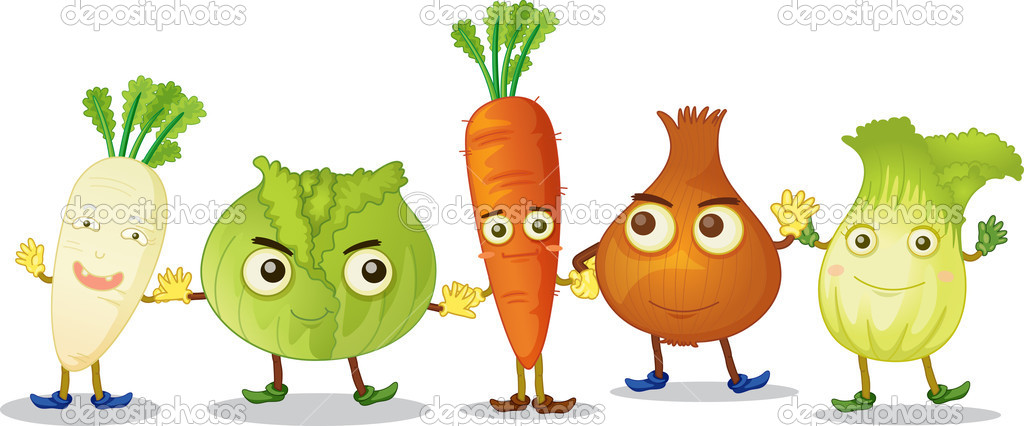 Illustration of vegetables with eyes — Stock Vector #9961589