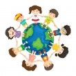 Kids around the world — Stock Vector #9993640