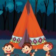 Monkeys camping — Stock Vector