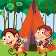 Stock Vector: Monkeys camping