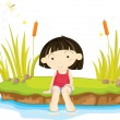 Girl at beach — Stock Vector